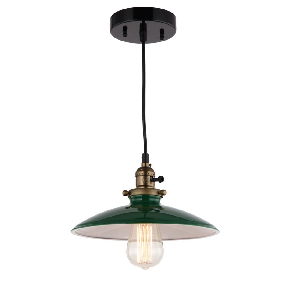 JEMMY HO Metal Warehouse Pendant Lighting Dia 10 Inch Mini Vintage Industrial Barn Pendant Lamp (Green) 1