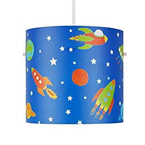 Super Space Rocket, Stars, Moon And Planets Colourful Children's Cylinder Ceiling Pendant Light Shade