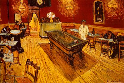 Vincent Van Gogh Night Cafe with Pool Table Art Print Poster - 24x36