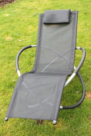 Moon Rocker Garden Lounger Chair in Black
