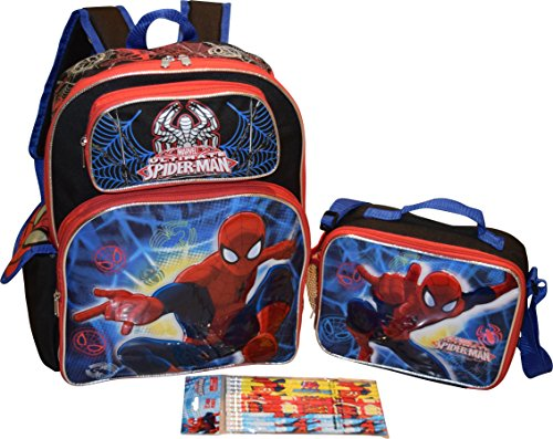 "Marvel Spiderman Set 16"" School Backpack & Lunch Box W/ Bonus 12Pk Pencils"
