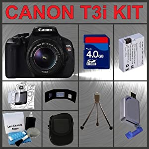 Canon EOS Rebel T3i 18MP Digital Camera with EF-S 18-55mm IS II Lens + 4GB Memory Card + Spare Extended Life Li-Ion Battery + Carrying Case + USB SD Card Reader + Flexible Table Top Tripod + LCD Screen / Lens Cleaning Kit + LCD Protectors + Memory Card Storage Wallet Accessory Kit