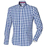 Front Row Mens Checked Casual Cotton Shirt (XL) (Blue Check)