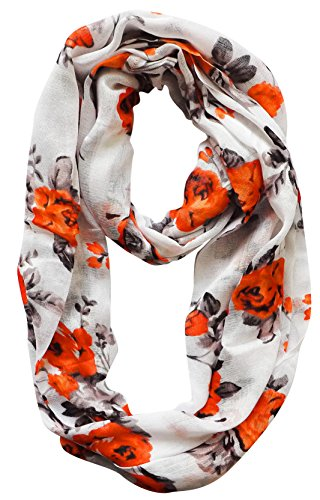 Peach Couture Premium Graphic Floral Print infinity loop scarves Orange Black