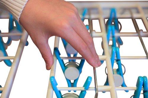 片手で着脱できる洗濯物干しハンガー【いちどにありがとう32】 (青)