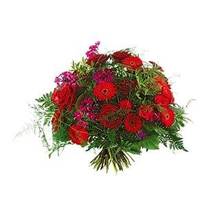Blumenstrauß 'Passion' Frisch vom Floristen vor Ort mit Rosen, Gerbera, Nelken in rot, inmitten von Grün