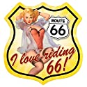 Route 66 Pinup Girl Metal Shield Sign
