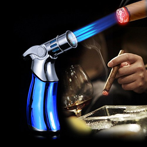 YINO Luxurious Quad Jet Flame Butane Gas Torch Cigar Lighter Blue Color (Cigar Fuel compare prices)