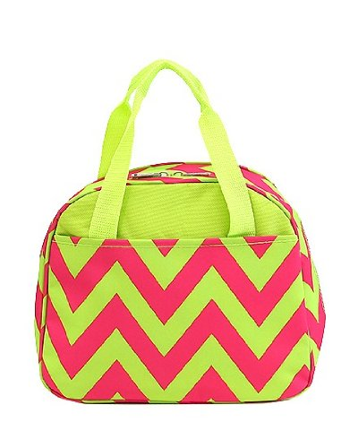 "10"" Chevron Microfiber Reusable Insulated Lunch Bag with Pockets (Pink/Lime)"