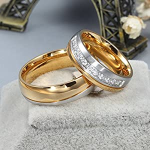 His & Men's Ring For Love Titanium 18K Gold-Plated Wedding Engagement Band 6mm US Size 8.5 from AnaZoz