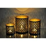 Logam Moroccan Filigree Tea Light Votive Holders( Set Of Three)