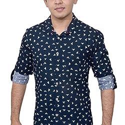 Ivory Men's Casual Cotton Shirt (2920-BU-M_Navy Blue)