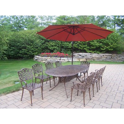 Oakland Living Mississippi Cast Aluminum 82 By 42-Inch Oval 9-Piece Dining Set With 10-Feet Burnt Orange Cantilever Umbrella