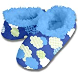 Blue Clouds Pattern Soft Snoozies Sock Slippers - Non-skid Sole