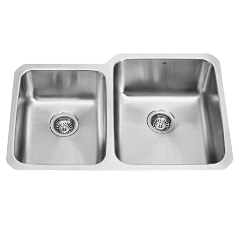 VIGO 32 inch Undermount 60/40 Double Bowl 18 Gauge Stainless Steel Kitchen Sink