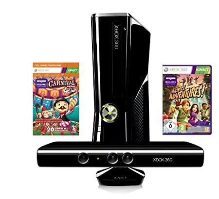 Xbox 360 - Konsole Slim 4 GB inkl. Kinect Sensor, Carnival und Kinect Adventures, schwarz-matt