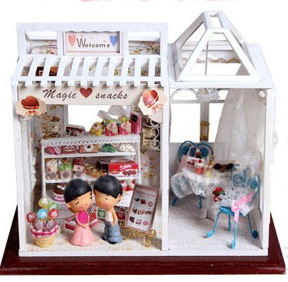 Big Dollhouse Miniature Diy Wood Frame Kit With Light Model Sweet Promise Gift Ldollhouse58-D72