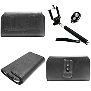 DMG Durable Cell Phone Pouch Carrying Case with Belt Clip Holster for Samsung Z1 (Black) + Handheld Selfie Monopod with Bluetooth Clicker