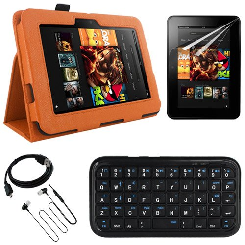 Skque Branded Flip Leather Case With Stand,Orange + Clear Anti Scratch Screen Protector Guard + Black Micro Usb Data/Sync Cable,Straight + Mini Bluetooth Keyboard + Black 3.5Mm Stereo Headset Earphone /W Mic For Amazon Kindle Fire Hd 7 Inch Tablet