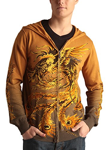 Ed Hardy Mens Skull And Rosses Zip Up Hooded Sweater - Parachute - X-Large