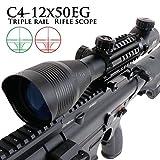ANS optical ライフルスコープ C4-12x50EGB マウント一体式 4-12倍可変ズーム/赤緑イルミネート