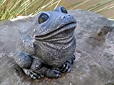 Garden ornament Frog, Cast stone, Slate gray