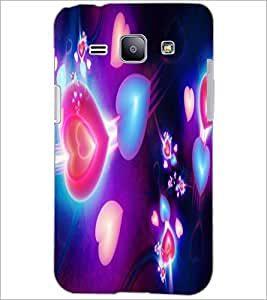 PrintDhaba Hearts D-2375 Back Case Cover for SAMSUNG GALAXY J1 (Multi-Coloured)