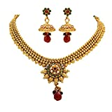 Unicorn's Traditional Gold Plated Ethnic Necklace Set with Jhumki Earrings - UETMPL08WRG