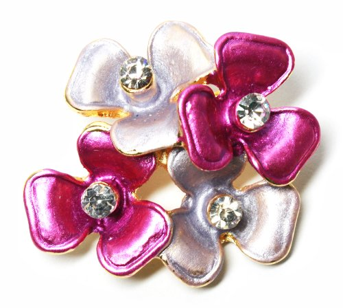 BDJ Gold Tone Hand Painted Enamel Rhinestone 3 Petal Corsage Brooch Pin (Pink)