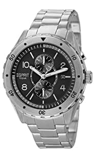 Esprit Alamo Men's Quartz Watch with Black Dial Analogue Display and Silver Stainless Steel Bracelet ES105551004