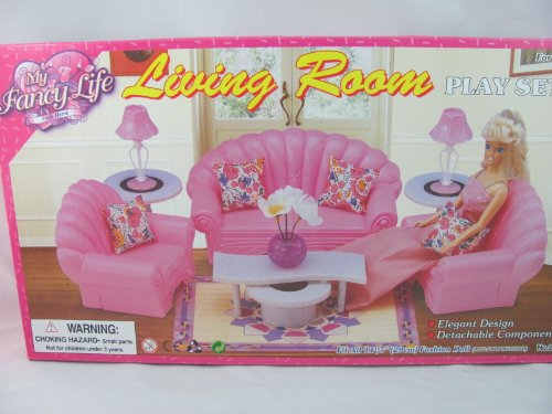 Barbie size dollhouse furniture living room set sets sets for Barbie living room furniture set