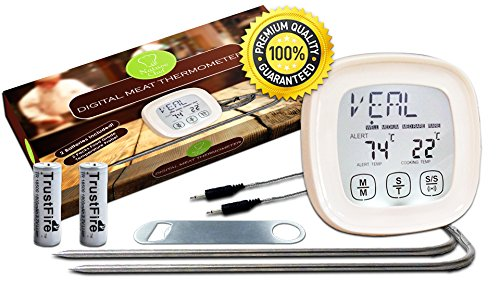 ONE DAY SALE Touchscreen Digital meat Thermometer by Naturechef - High Quality-3 GIFTS INCLUDED - 2 Batteries, eBook & premium Bottle Opener - Instant Read, Preset Temperatures - MONEY BACK GUARANTEE (One Day Sale On Electronic compare prices)