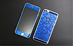 Kapa 3D Diamond Pattern Mirror Front + Back Tempered Glass Screen Protector for Apple iPhone 4 4S - Blue