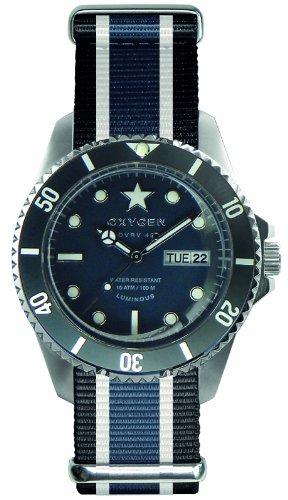 Oxygen - EX-DV-JEA-41-BLIVJE - Diver Vintage - Montre Homme - Quartz Analogique - Cadran Bleu - Bracelet Nylon Multicolore