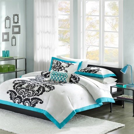 Mizone Florentine 4 Piece Comforter Set - Teal - King back-1028287