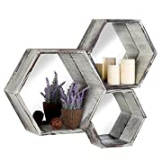 Rustic Torched Wood Hexagon Wall Mounted Floating Shelves with Mirror Backing, Set of 3, Brown