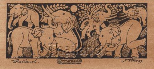 Amorn Gallery Thailand Art Buddha Picture 象 ビンテージ クラシック ポストカード