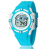 Happy Cherry Outdoor Boys Girls Students Cool Digital Sport LED Quartz Alarm Stopwatch Chronograph Wrist Watch Gift Display - Blue