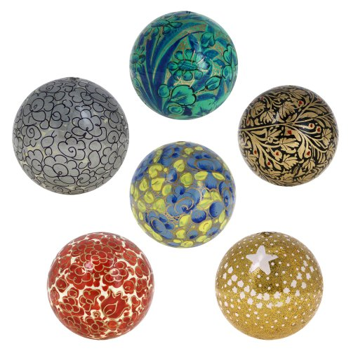 Christmas Ornaments Handmade Colorful Paper Mache Hanging Balls 3 Inch Set Of 6