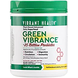 Vibrant Health - Green Vibrance - A Comprehensive, Restorative, Advanced Daily Superfood + Vegan D3, 60 servings