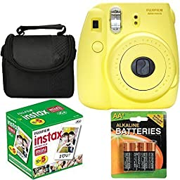 Fujifilm Instax Mini 8 Instant Film Camera (Yellow) With Fujifilm Instax Mini 5 Pack Instant Film (50 Shots) + Compact Bag Case + Batteries Top Kit - International Version (No Warranty)