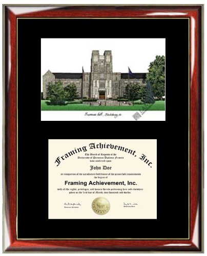 Virginia Tech University VT Lithograph Diploma Frame - Premium Wood Glossy Prestige Mahogany with Gold Accents - Single Black Mat - University Diploma Frame