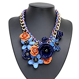 stylische blumen damen statement kette halskette collier blau braun mit kristall strass. Black Bedroom Furniture Sets. Home Design Ideas