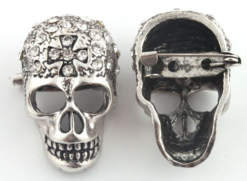 Ladies Silver with Clear Iced Out Crossed Skull Brooch & Pin Pendant