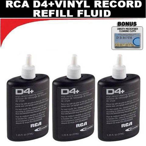 THREE BOTTLES - RCA Discwasher #RD-1046 1.25 oz. D4+ Vinyl Record Cleaning Fluid Refills