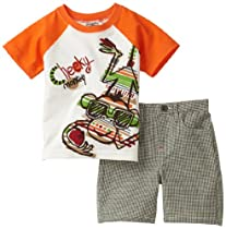 Little Rebels Baby-boys Infant Jersey With Matching Green Plaid Short Set, Beige, 18 Months
