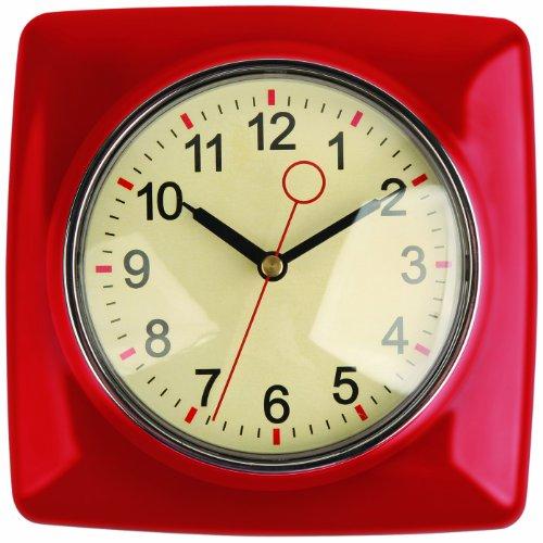 Kikkerland Retro Kitchen Wall Clock, Red
