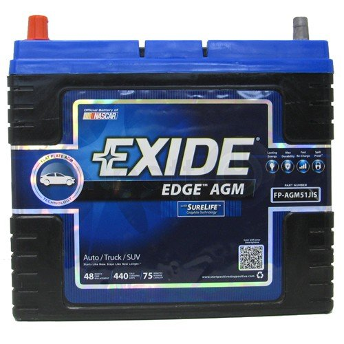 Exide Edge FP-AGM51JIS Flat Plate AGM Sealed Automotive Battery