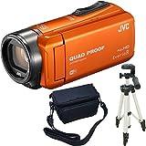 JVC KENWOOD Everio R HDビデオカメラ GZ-RX600-D オレンジ 内蔵メモリー64GB 3点セット ( 本体 + 三脚 + カメラバッグ )