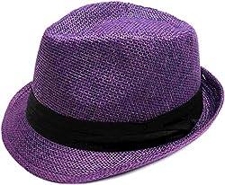 TAUT Unisex Fedora Hat Short Brim Sun Cap with Solid Color Band SM Pure_Purple